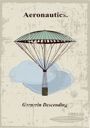 Retro card, Garnerin Descending in the clouds Vector
