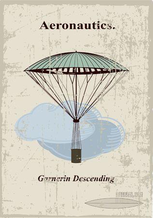 hot air ballon: Retro card, Garnerin Descending in the clouds