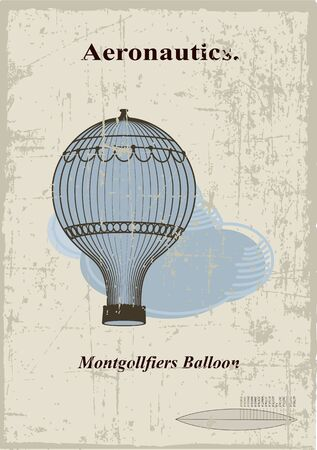 air baloon: Retro card, Montgollfiers balloon in the clouds