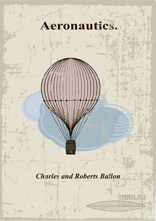 baloon: Retro card, Charles and Roberts balloon in the clouds Illustration
