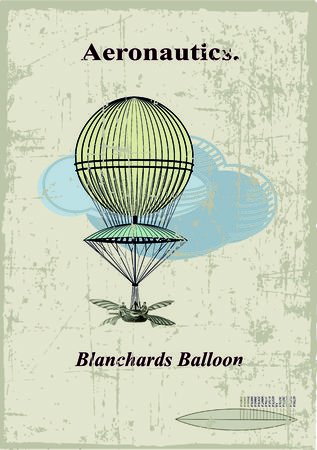 Retro card, Blanchards balloon in the clouds Vector