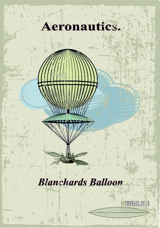 hot air ballon: Retro card, Blanchards balloon in the clouds Illustration