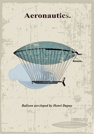 hot air ballon: Retro Card, airship aeveloped by Henri Dupuy in the clouds
