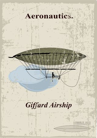 Retro Card, Giffard airship in the clouds Vector