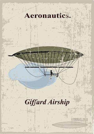 ballooning: Retro Card, Giffard airship in the clouds