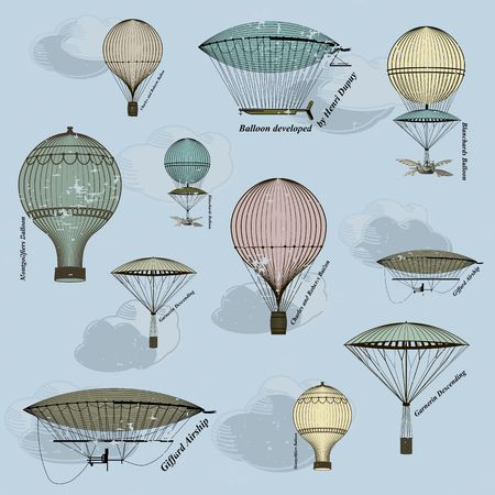 hot line: Vintage  seamless pattern of hot air balloons and airships ,  background. Seamless pattern can be used for wallpaper, pattern fills, web page background,surface textures. Gorgeous seamless  background