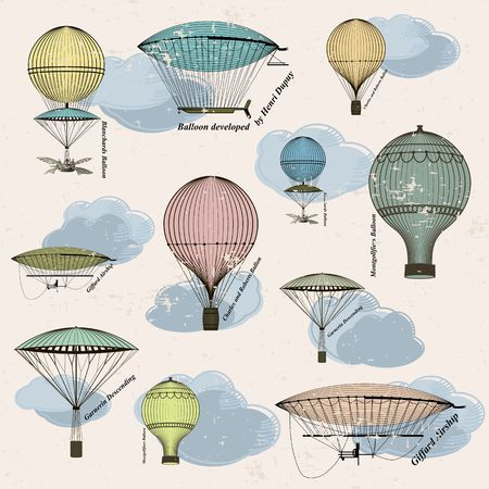 Vintage  seamless pattern of hot air balloons and airships ,  background. Seamless pattern can be used for wallpaper, pattern fills, web page background,surface textures. Gorgeous seamless  background Vector