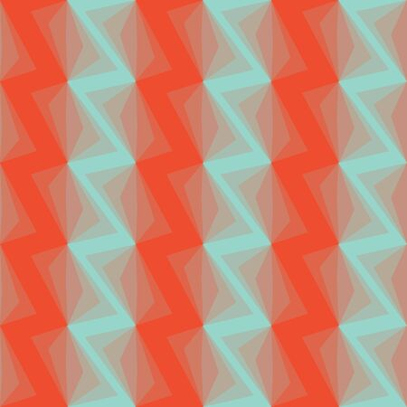 Colorful zigzag geometric seamless pattern in pink and green, vector Vector