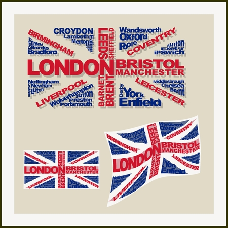 leeds: UK flag made ??of words major cities. Concept