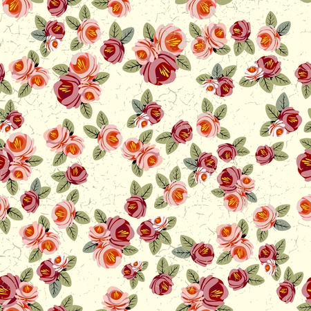 Floral seamless vintage pattern. Shabby chic rose background for you scrapbooking. Vector