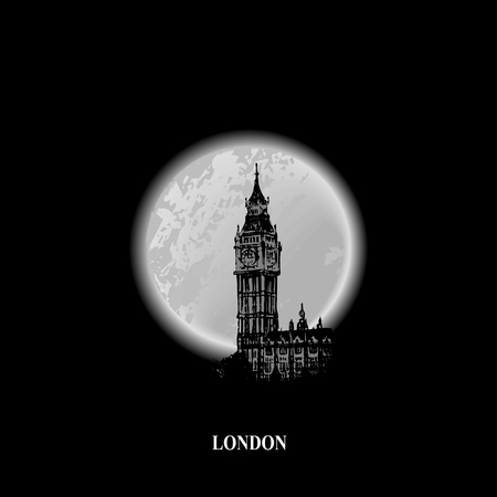 big ben: Silhouette of Big Ben tower on the background a full moon, conceptual poster Illustration