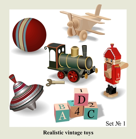 Beautiful set of isolated realistic vintage toys for kids, vector  Иллюстрация