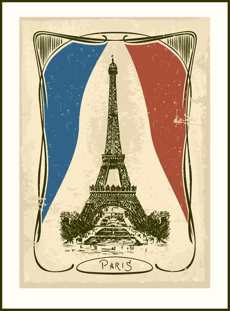 Retro Parisian card -Eiffel tower  Art Nouveau style  Vector
