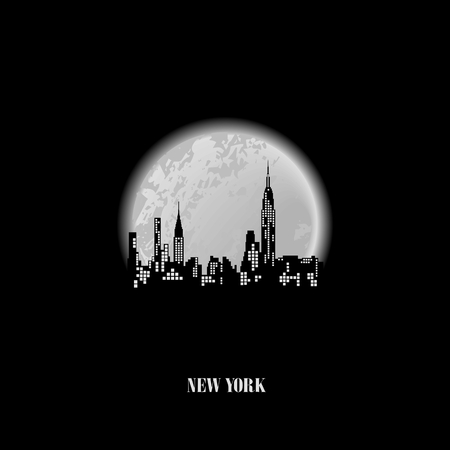new york city times square: Silhouette of New York on the background a full moon, conceptual poster Illustration