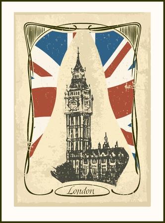 Retro London card -Big Ben tower  Art Nouveau style  Vector