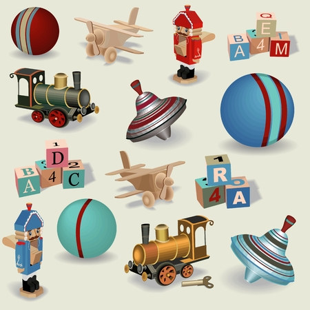 Beautiful seamless background of realistic vintage toys , vector.