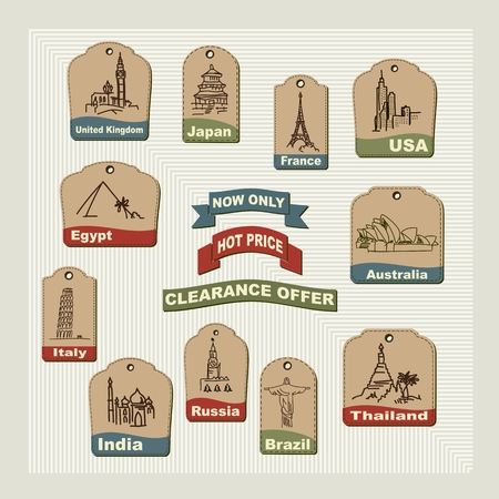 Set retro  vacation & travel labels,  badges and tags for travel agents Vector