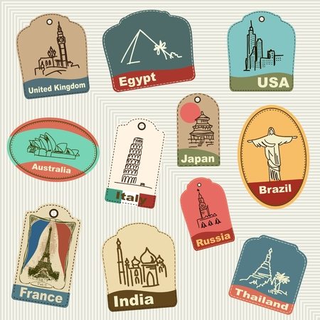Seamless pattern of vintage retro grunge vacation & travel labels, labels, badges. Vector