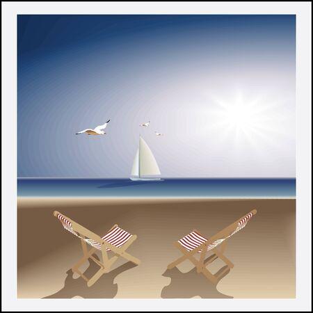 전원시의: 목가적 인 바다입니다. 저녁 황량한 해변,이 라운지 의자, 요트와 갈매기입니다. 벡터
