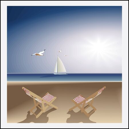 deserted: Idyllic seascape. evening deserted beach, two lounge chairs, sailboat and seagulls. Vector