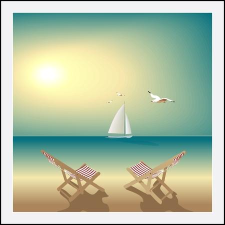 전원시의: 목가적 인 바다입니다. 저녁 황량한 해변,이 라운지 의자, 요트와 갈매기입니다.