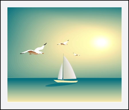 repose: Yacht sailing against sunset. Holiday lifestyle landscape with skyline sailboat and three seagull.