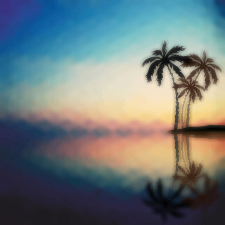 tropical beach panoramic: Palm trees against the evening sunset. Psychedelic  blurred landscape