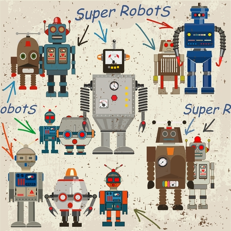 seamless retro Robot pattern, cartoon vector illustration Vector
