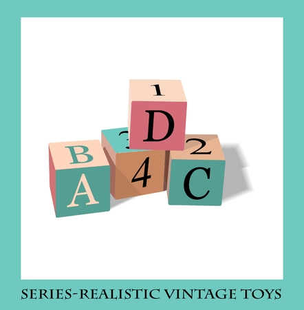 abc blocks: Alphabet blocks, Series-Realistic vintage toys