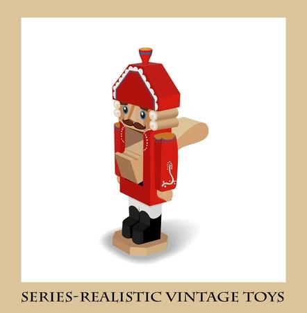 the nutcracker: Wooden Nutcracker, Series-Realistic vintage toys
