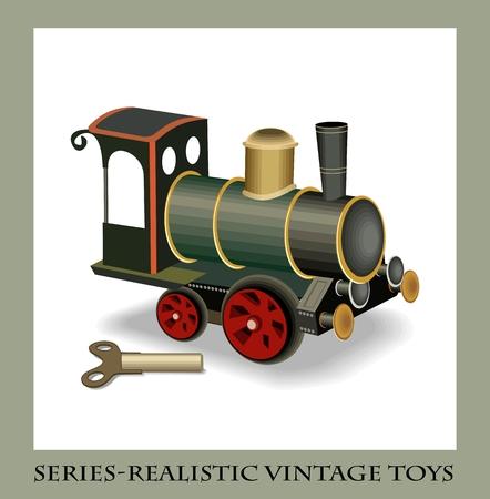 Clockwork metal train, series-Realistic vintage toys