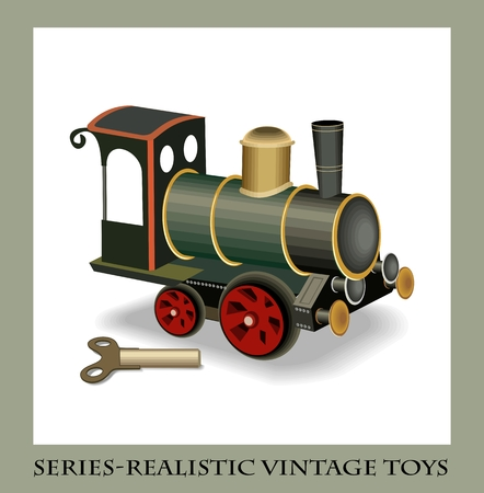 Clockwork metal train, series-Realistic vintage toys Illustration