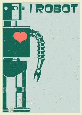 space robot: Robot With Heart On Chest, retro poster