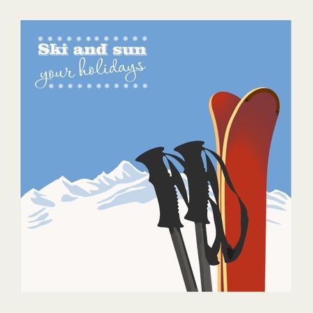 겨울 배경입니다. 눈 산과 스키 장비