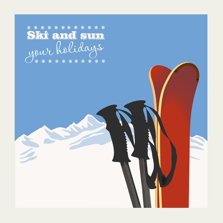 skis: Winter  background. Mountains and ski equipment in the snow