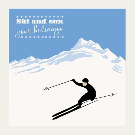 mountain skier slides from the mountain. Vector