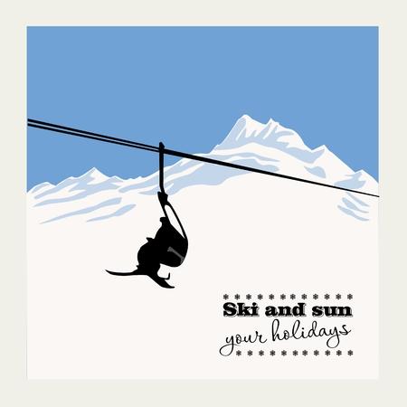 slalom: Winter background. Mountain landscape with ski lift Illustration