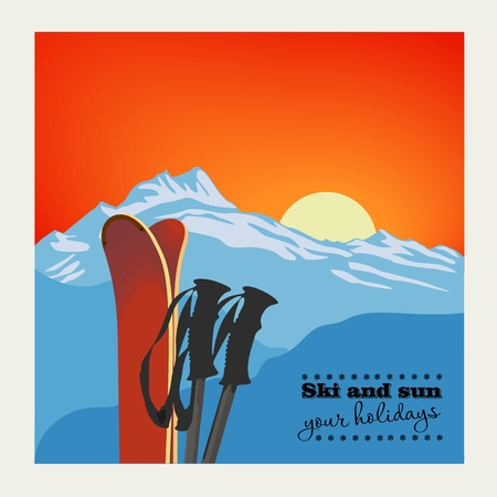 Winter  background. Mountains and ski equipment in the snow against the sunset Ilustrace