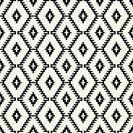 mexican black: Trendy hipster  Black and white pixel seamless pattern Illustration