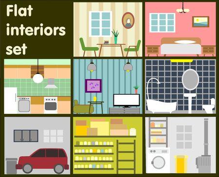 home furniture: Vector set flat Interiors decorative icons of furniture elements