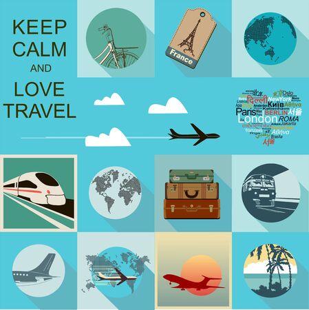 Düz tasarım seyahat illüstrasyon seti Illustration