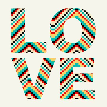 Love typography with hipster pattern - stock vector Ilustração