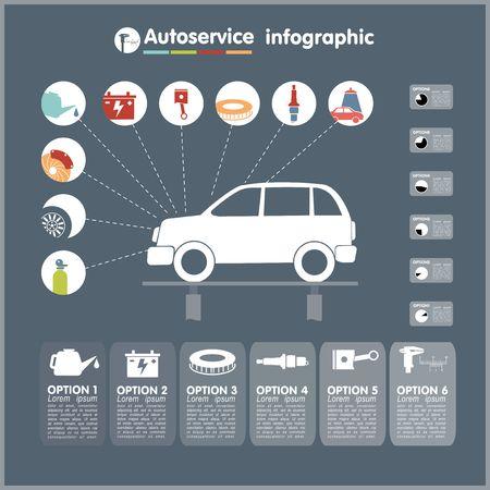 repuestos de carros: Concesionarios de coches de servicio de infografía elementos de diseño con piezas mecánicas iconos ilustración vectorial
