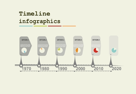 global settings: Timeline Infographic with diagrams and graphics in flat design style Illustration