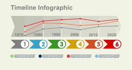chronological: Timeline Infographic with diagrams and graphics in flat design style Illustration
