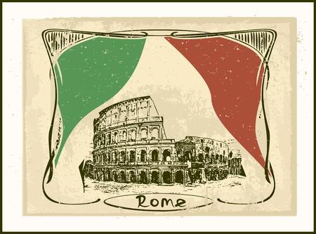 roma: Retro Rome card - Colosseum or Coliseum   Art Nouveau style  Illustration