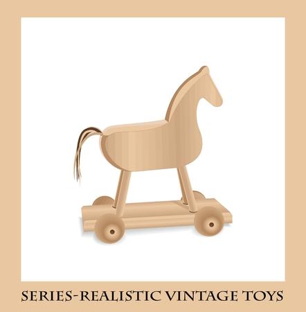 cavallo di troia: Cavallo di legno su ruote, giocattoli d'epoca Serie-realistico Vettoriali