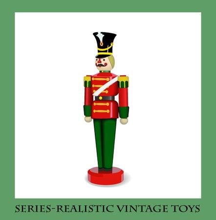 Kleurrijke Kerst Houten Soldier, Serie-realistische vintage speelgoed Stock Illustratie