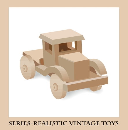 for children toys: Wooden toy truck  , Series-Realistic vintage toys