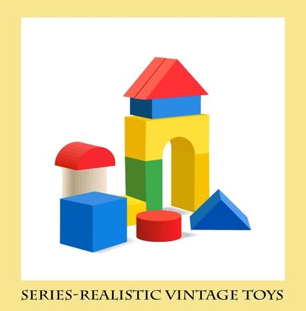 Juguete bloques de madera de colores, juguetes antiguos de la serie realista Foto de archivo - 30292150